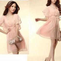 Платье шифоновое розовое фото