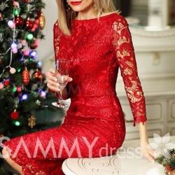 кружевное красное платье фото