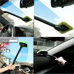 car glass cleaner demister wiper handle wand microfiber cloth makes cleaning windshields fast. Black Bedroom Furniture Sets. Home Design Ideas