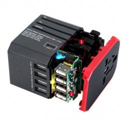 Разборка  универсального туристического адаптера (4 USB 2.4A Port + Type-C) с вилками EU/UK/US/AU