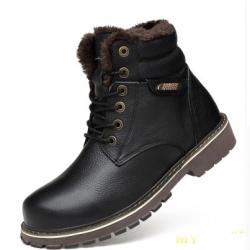 26841f11e Зимние мужские кожаные ботинки с мехом внутри и сверху