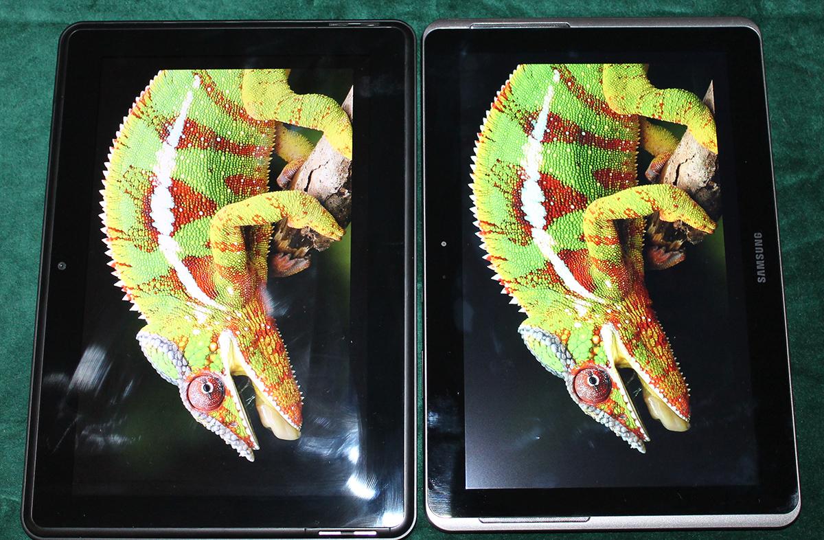 Сравнение экранов с Samsung Galaxy Tab-2 10.1