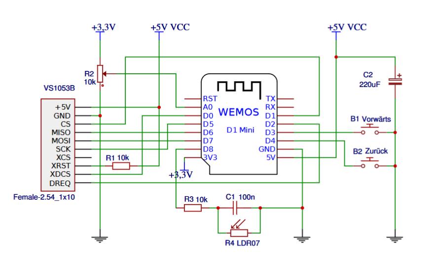 Схема Wi-Fi радио приемник своими руками ESP8266 VS1053B