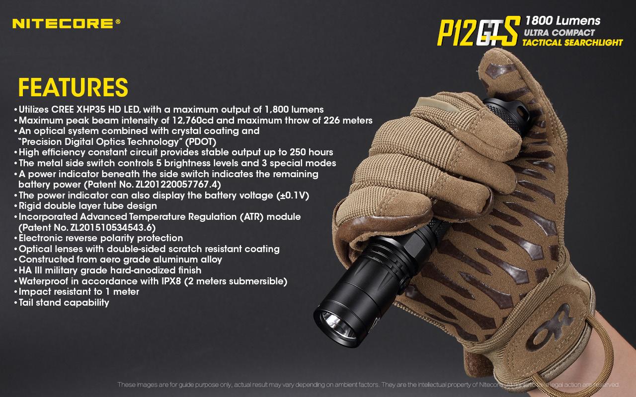 компактный тактический фонарик Nitecore P12GTS